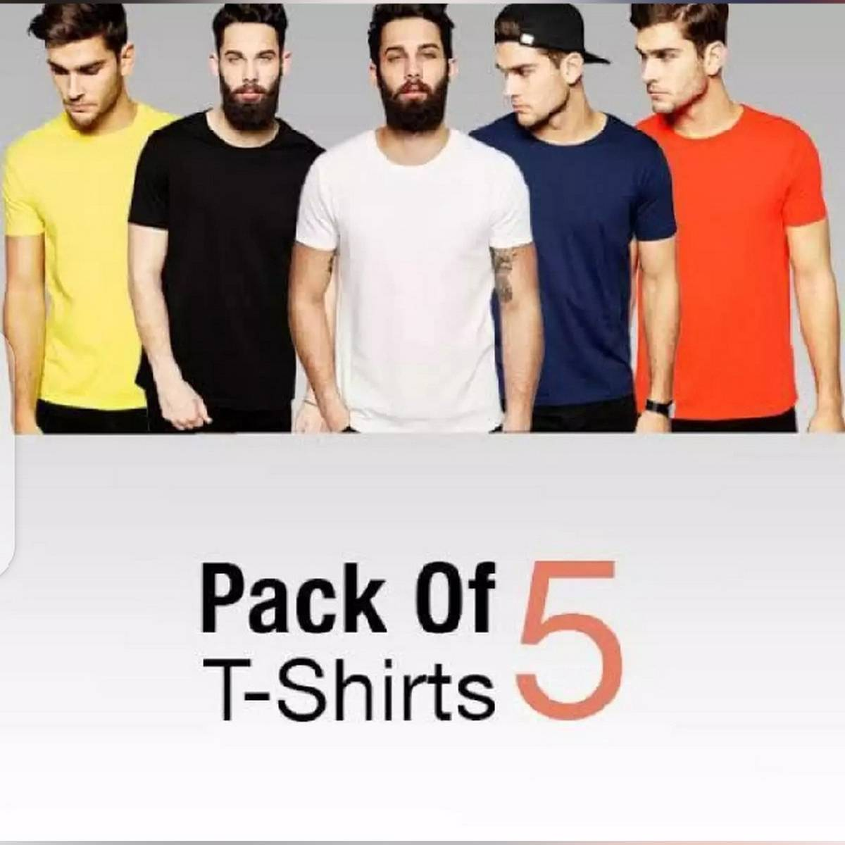 pack of 5 multiclolor basic T shirt