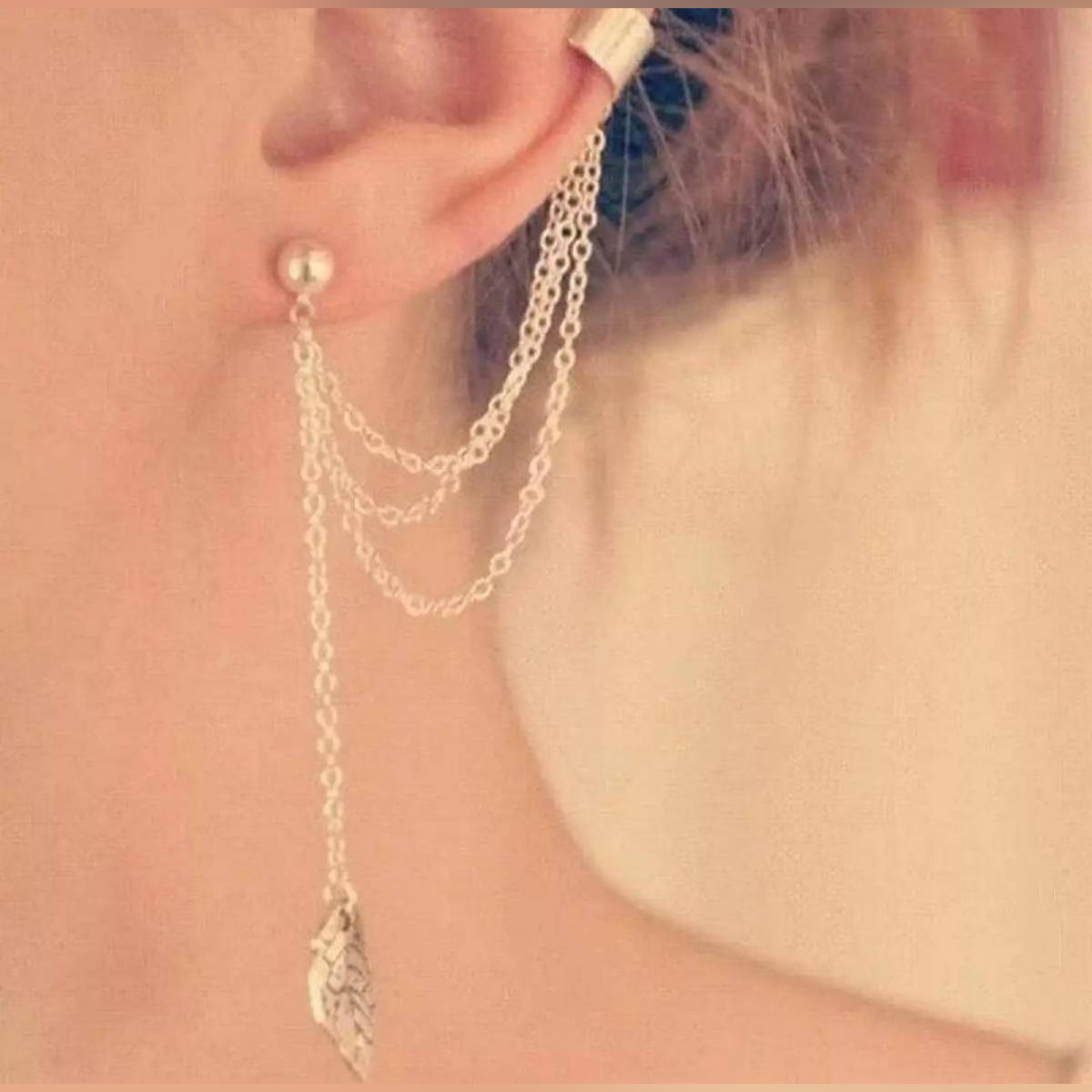 New Fashion 1 Piece(one side) Silver and Gold plated Leaf Ear cuff Drop Earrings - Limited Stock