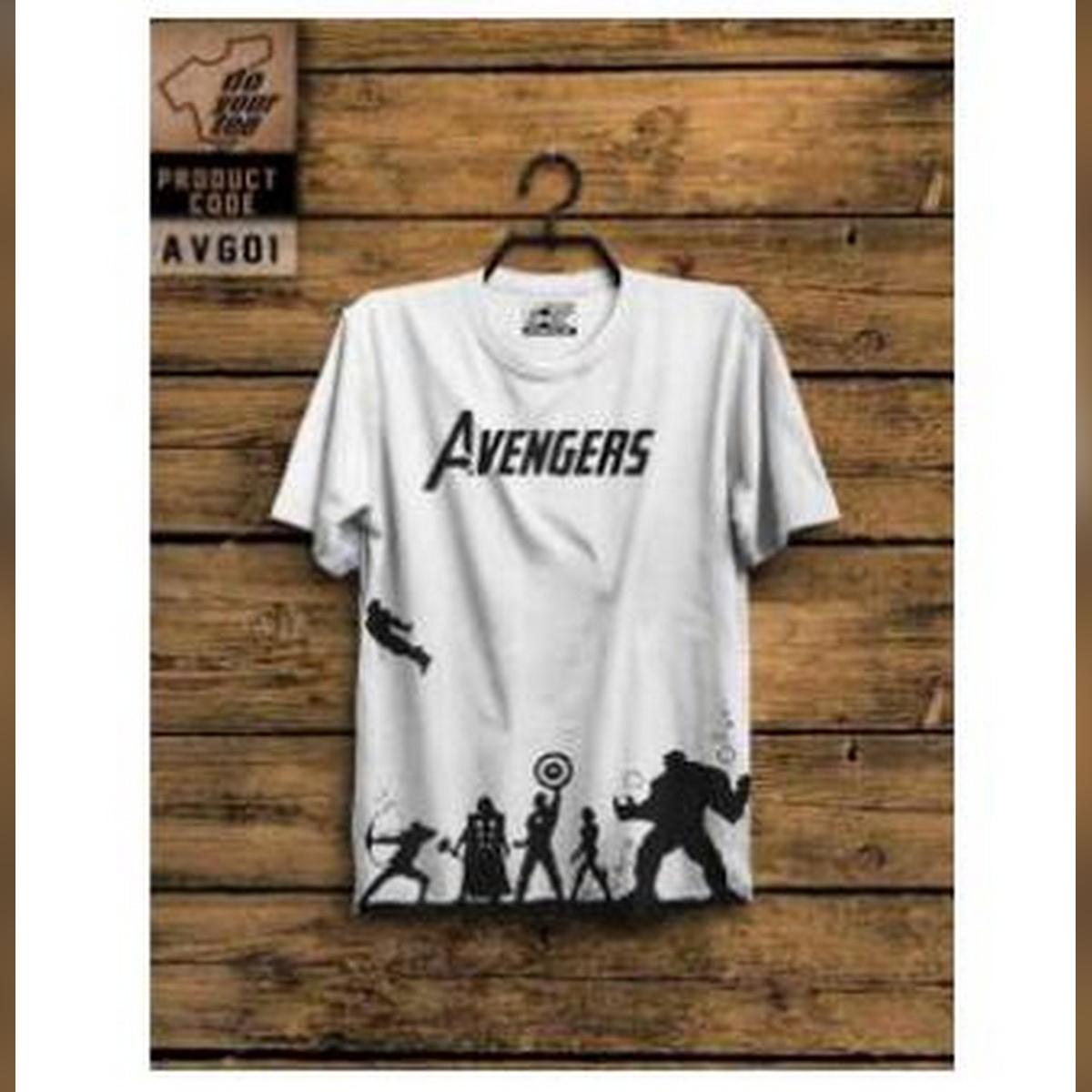 White Avenger Half Sleeves Printed T.shirt