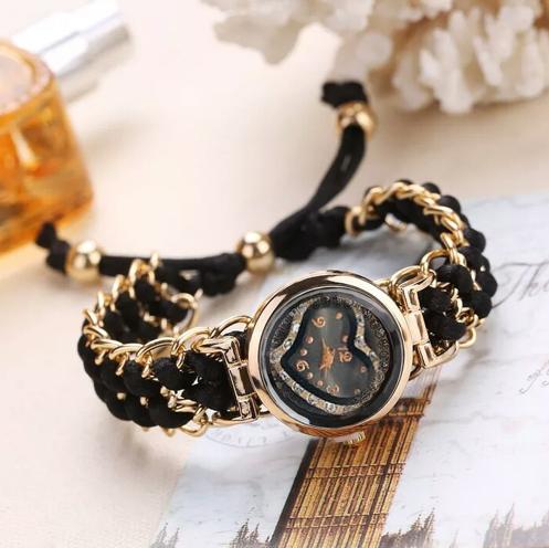 New Fashion Women/Ladies Knitting Rope Chain  Wristwatch Dress Ladies Rope Winding Analog Quartz Movement Heart Style Wristwatch Glass Mirror Girl Clock with free Gift Box