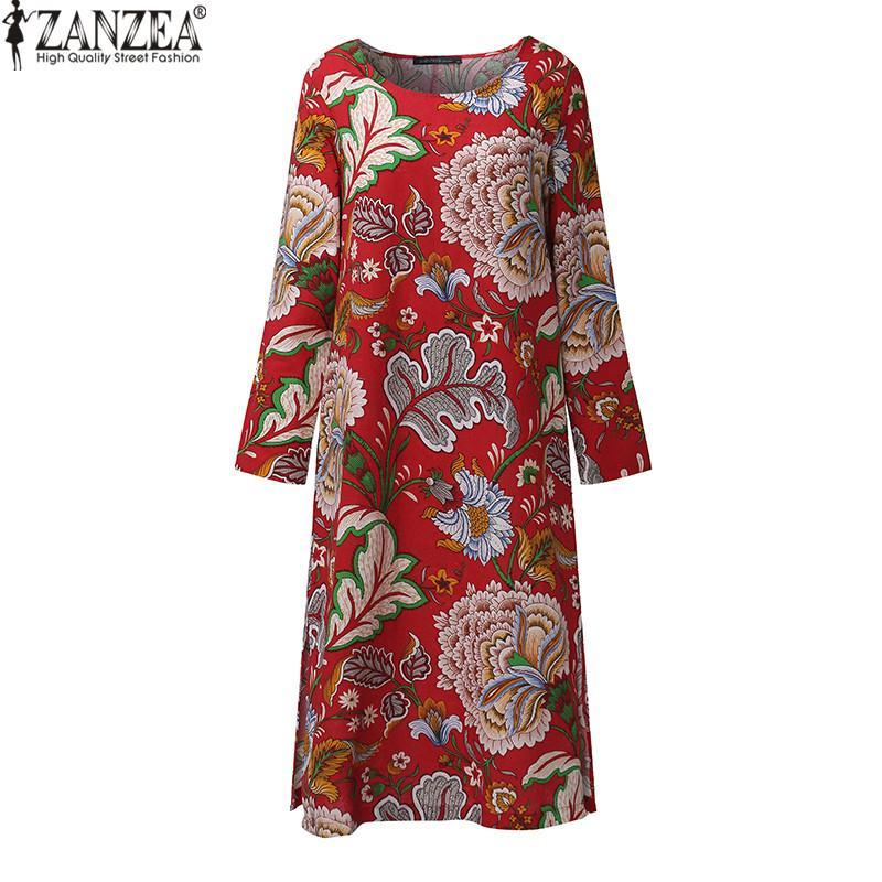 d71079305d6fe ZANZEA Vintage Women Pullover Loose Dress Casual Long Sleeve O Neck Dresses  Robe Plus Size Cotton Spring Autumn Dress Vestidos (Red)