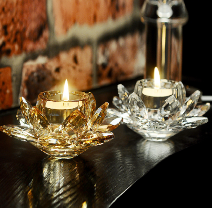 Pack of two Golden and white Crystal Glass Block Flower Candle Holders Feng Shui Home Decor Big Tealight Candle Stand Holder Candlesticks