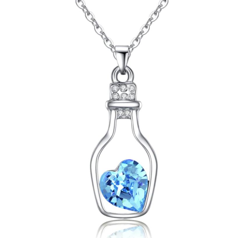 Women Necklaces Love Drift Bottles Pendant Hot pink color heart silver color chain necklaces for girls