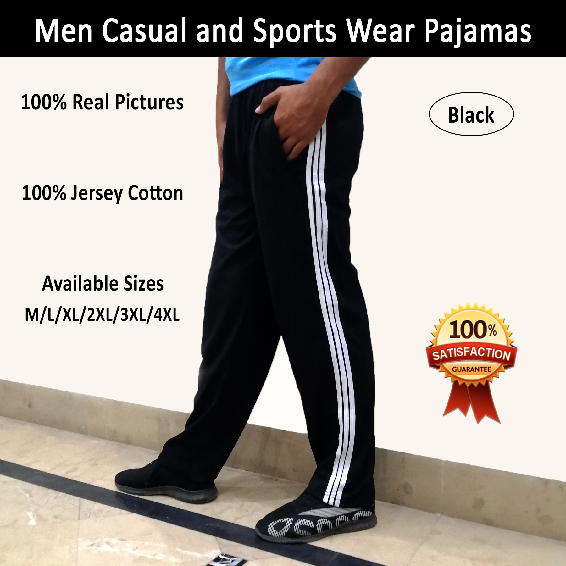 Men's Sports Trouser in Full Length with 2 Pockets and Side Strips as Boys Fitness Pants for Jogging and Track Pants in M to 5XL Sizes in Black and Gray Colors