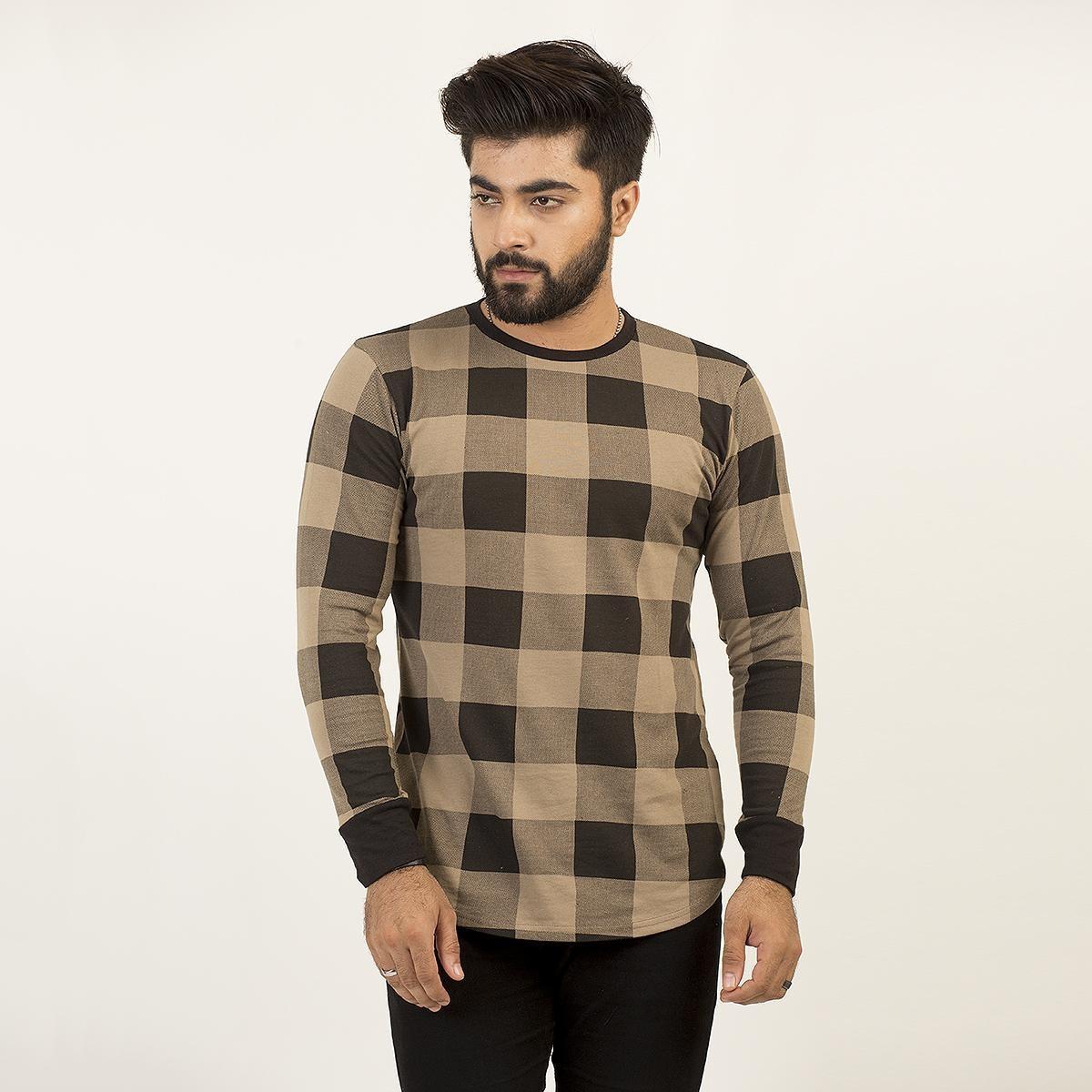 Paradise Zone Full Sleeves Ligth Brown Tshirt For Men