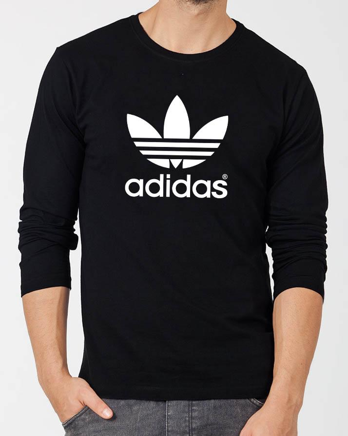 86472f2506ad Adidas Black Round Neck Best Printed Summer Quality Full Sleeve Tshirt