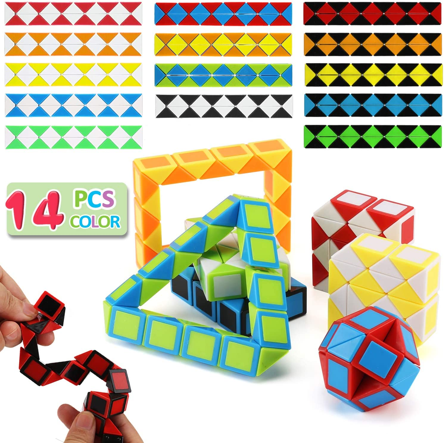 Snake Cube Puzzle Toys Set Twist Fidget Gift for Kids Child Boy Girl Brain Teaser Game, Mini Magic Cubes for Party Favors School Supplies Birthday