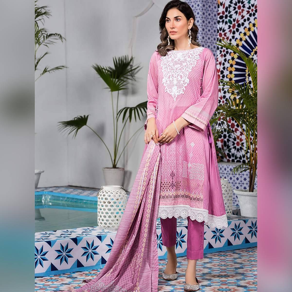 Khas Stores Women Summer Collection Vol 1 3 Pc Unstitched Lawn Suit Purple Fabric LAVENDER KL-4114