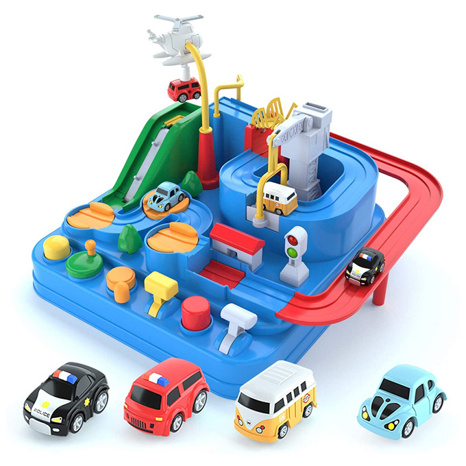 Educational Car Adventure Race Track Toy Parking Garage Set for Boys with 4 cars – 11 inches