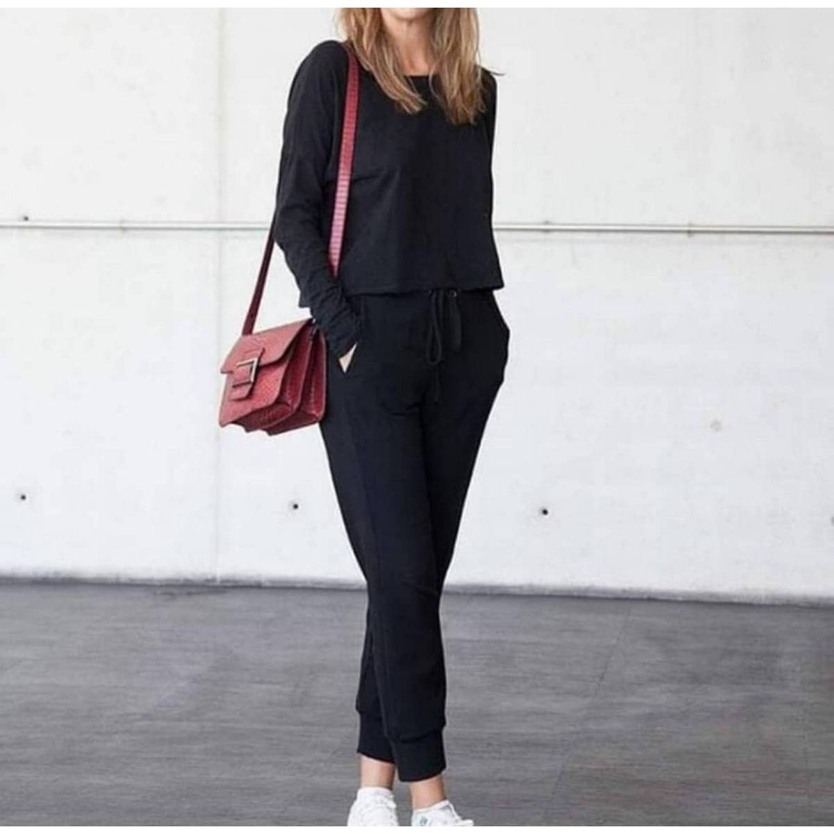 New Summer Collection Black Solid Color Plain Track Suit For Women
