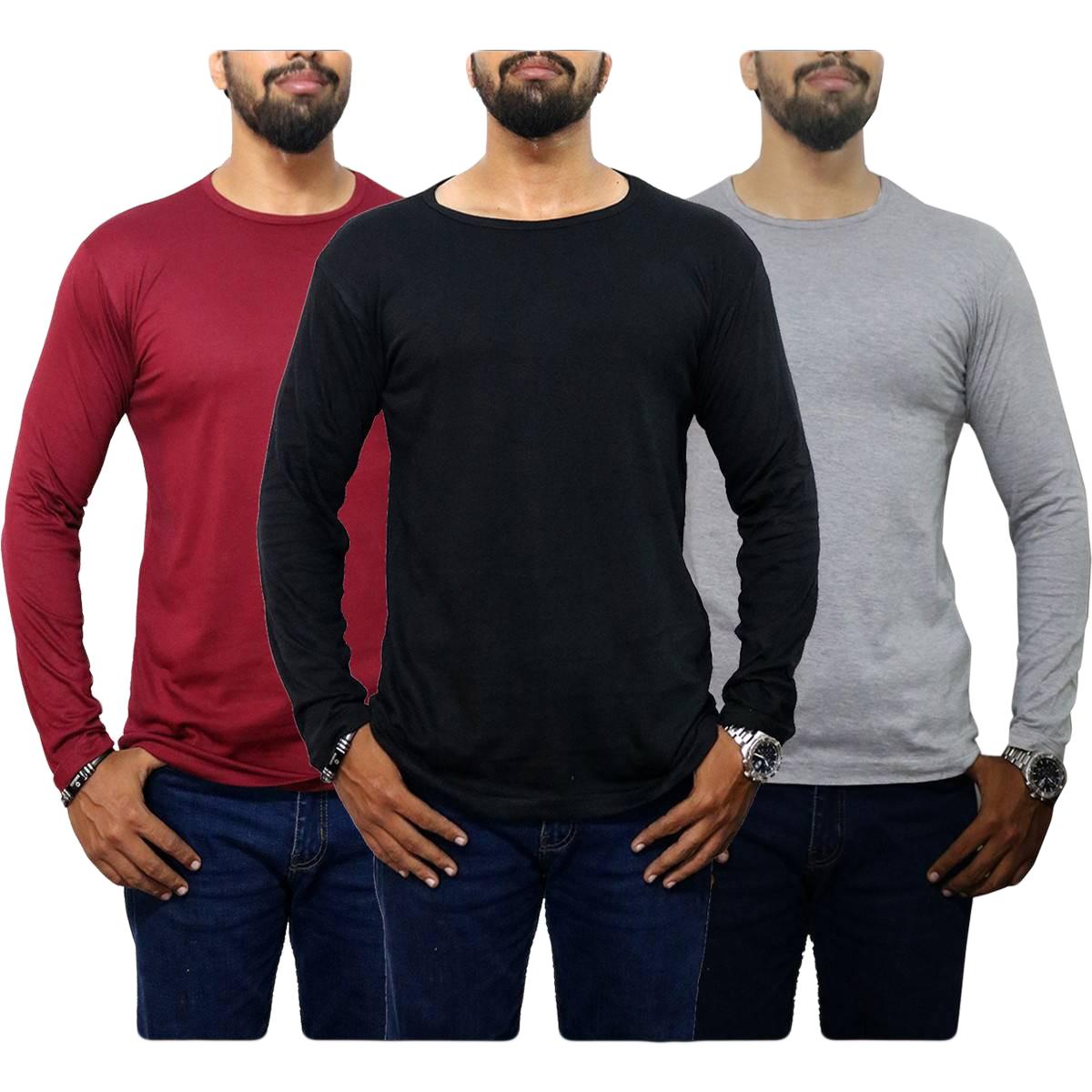 Pack Of 3 O-Neck full Sleeves Black Maroon Gray T Shirts for Men