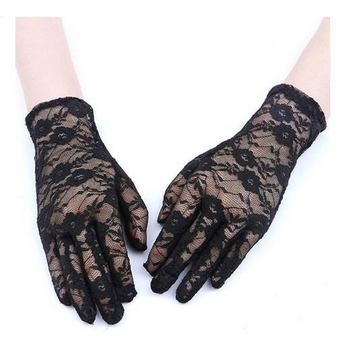 Summer Short Lace Gloves UV Protection Full Finger Gloves Outdoor Driving Gloves Wedding Lace Gloves for Women