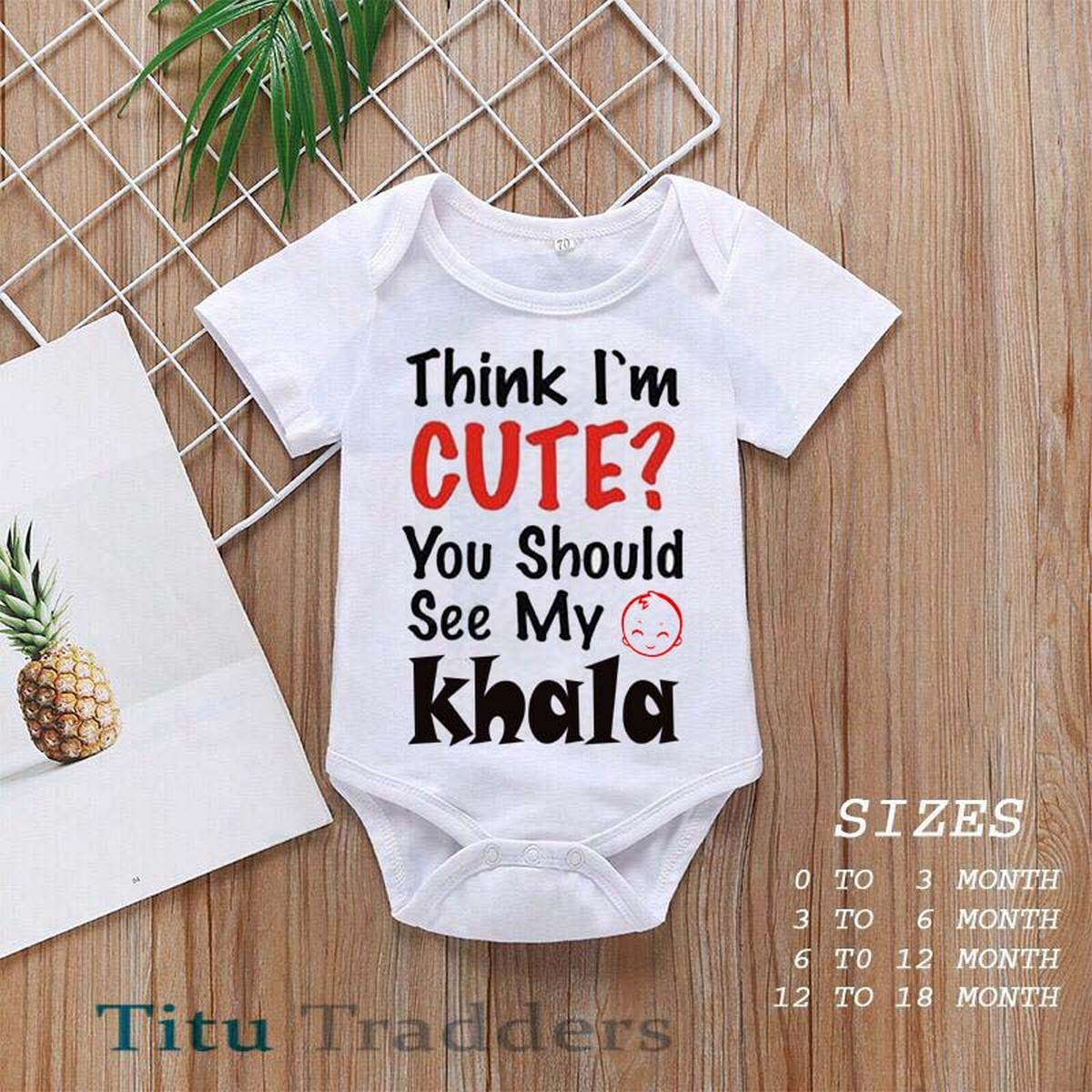 Baby Girls and Boys Half Sleeves Cotton Body suits Newborn to 18 Months, Baby Romper  (Cute Khala 25)
