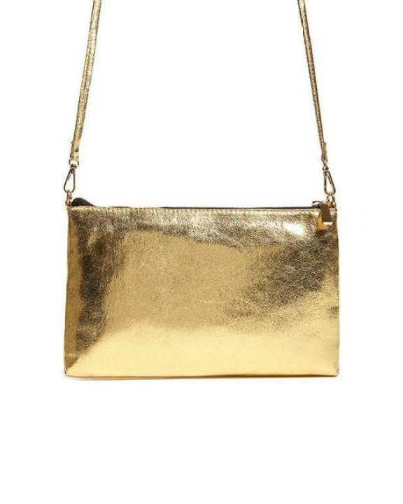 <li>Forever 21 Pink Studded Bag</li>Forever 21 GOLD-Metallic Crossbody Bag