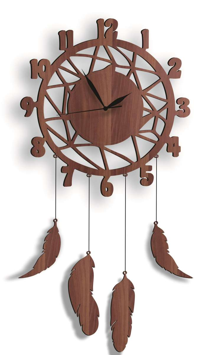 Wall Hanging Wall Clock, Wooden Feather Wall Hanging Home Decoration Dream Catcher