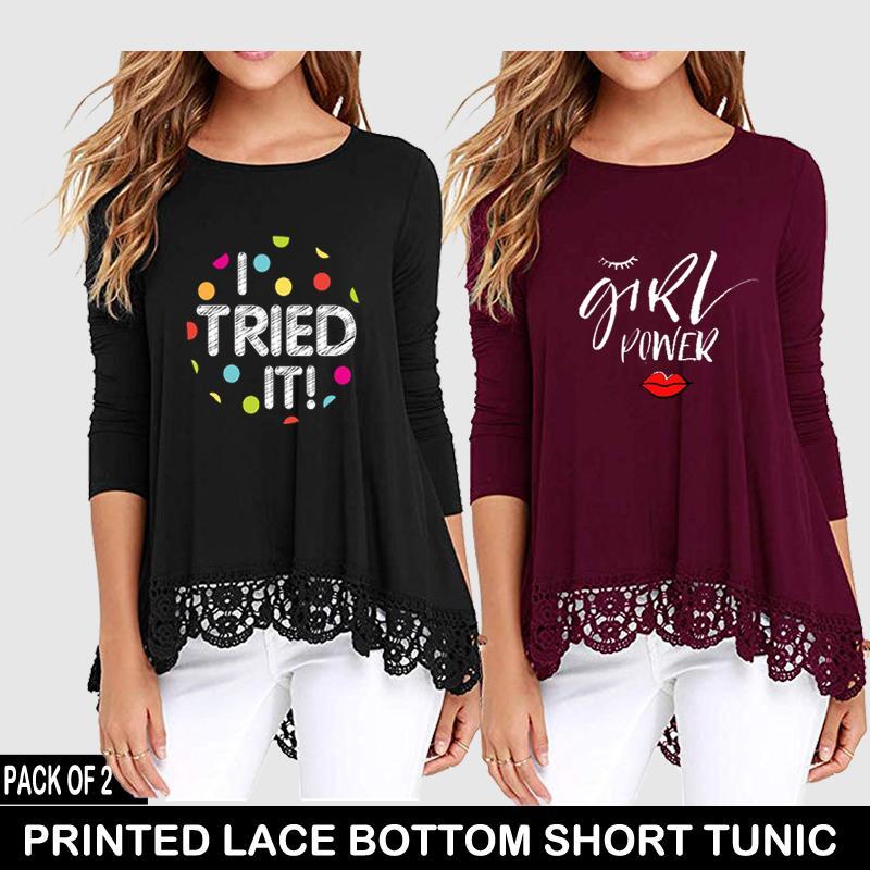 PACK OF 2 PRINTED LACE BOTTOM SHORT TUNIC ( BLACK I TRIED IT + MAROON GIRLS 7e504077b