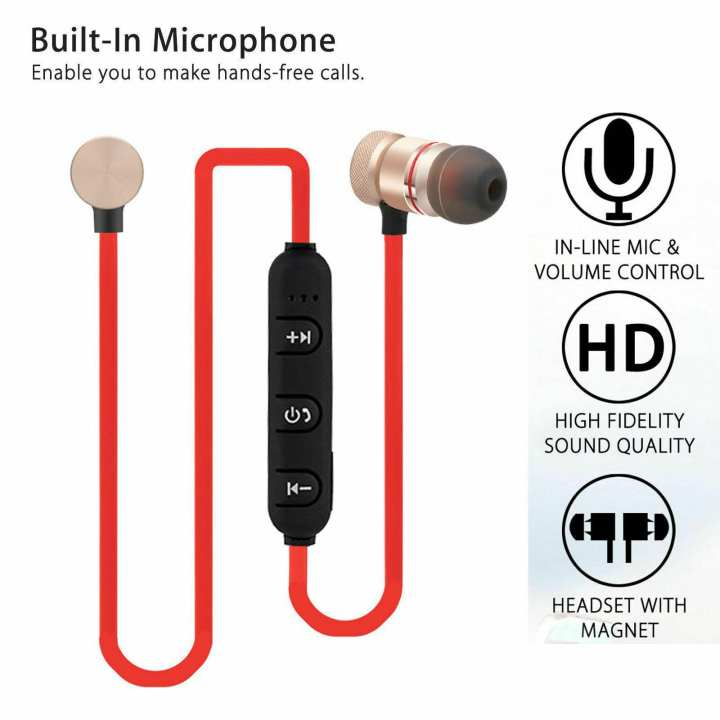 Magnetic M5, Bluetooth Headphone, Bluetooth Handsfree, Wireless Bluetooth Handfree, Bluetooth Earphone, Metal Magnetic Running Stereo Super Bass Headphone for All Phones, Colour. (Black & Red)