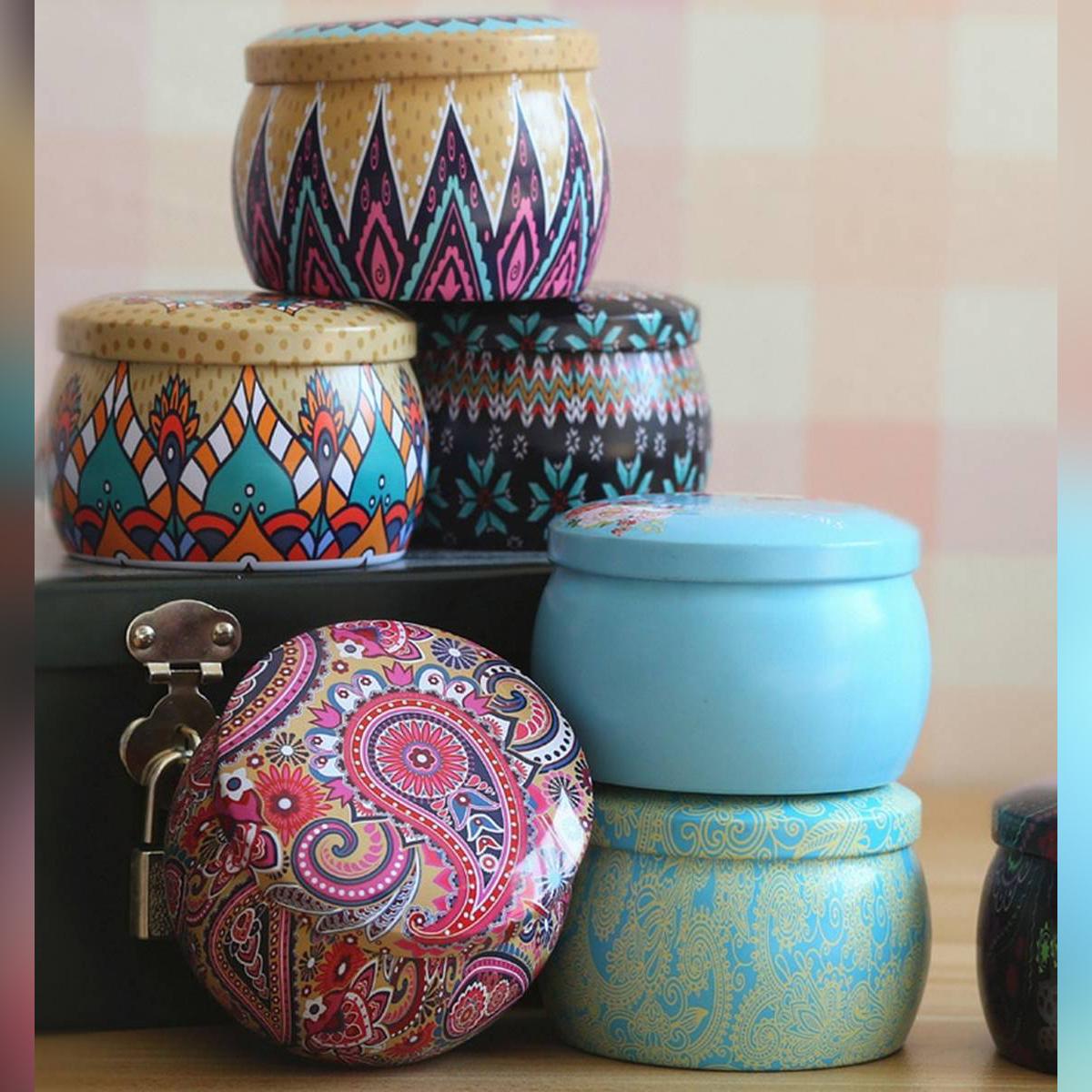 Lovely Mini Tin Box Gift Jewelry Tin Box Cookie Candy Tea Storage Round Drum Tinplate Box Drawer Organizer