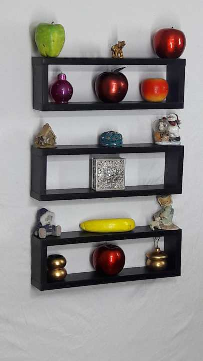 3 Pieces Wall Decor For Living Room: 3 PIECES WALL HANGING LONG BOXES SHELF BLACK: Buy Online