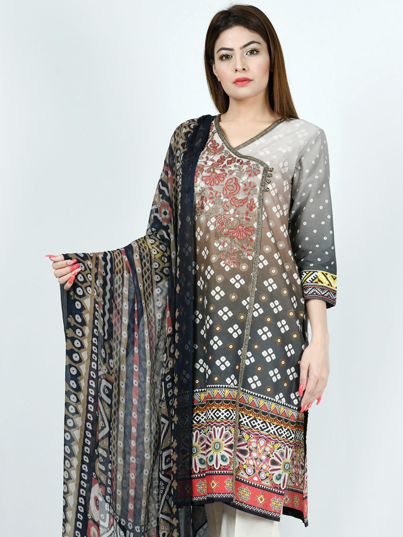 LimeLight Summer Collection 2019 Grey  Stitched Lawn 2 Piece For Women P1698-LRL-GRY