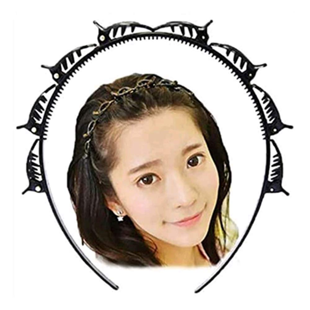 100 % Pure Plastic Thin Black Hair band head band women with clip hair styling for girls - Black