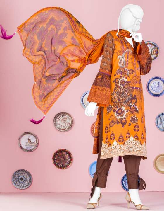 Junaid Jamshed Summer Collection 2019 Vol 2 ORANGE Unstitched - 2 PCs Suit for Women