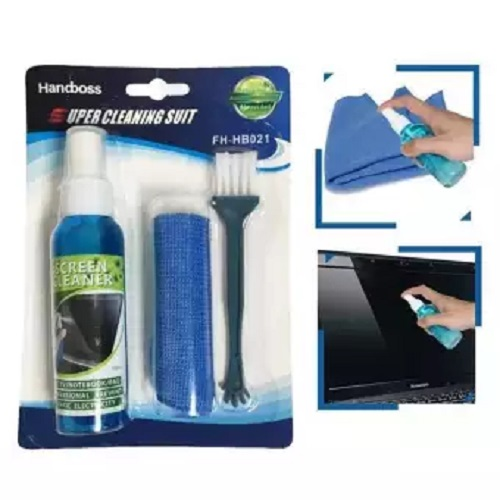 Mobile LCD TV Screen Cleaning Kit for Desktop Computer Laptop Digital Camera Keyboard Cleaning Solution Cloth Brush Kits  Blue