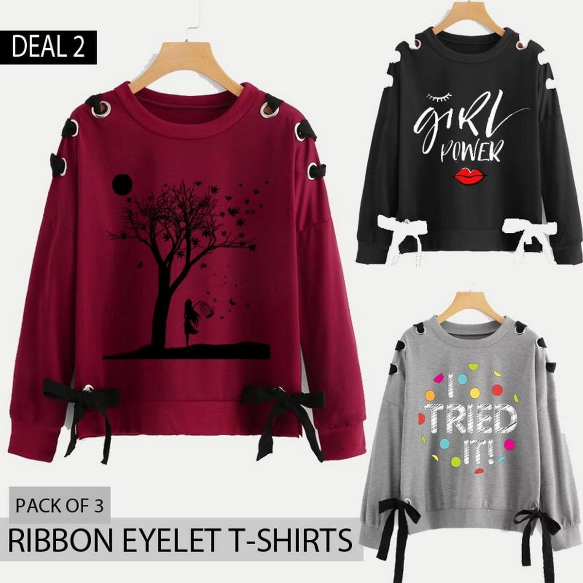 Pack of 3 Ribbon Eyelet Printed Sweat Shirts Deal-2