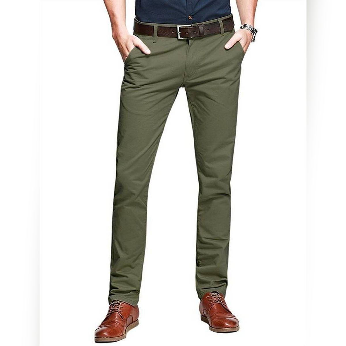 Men Chinos Cargo Casual Jeans Trousers Pants