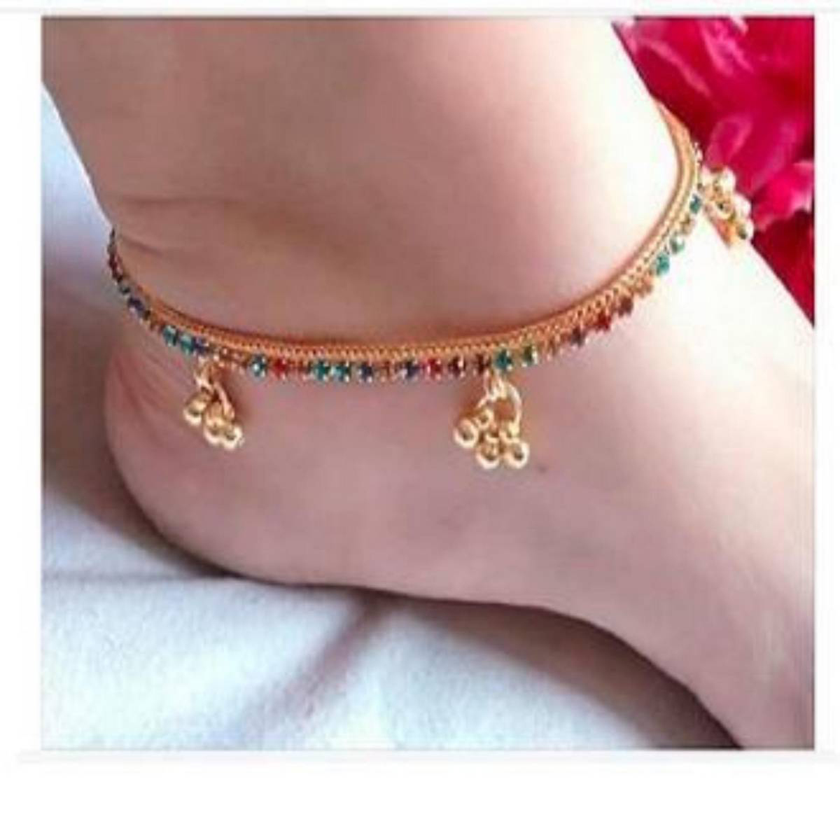 Golden Alloy Latest Fashion Artificial Jewellery Collection Elegant for Girls Women (10 inch) Brass Anklet