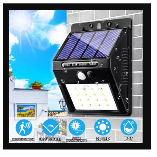 Motion Activated Outdoor Led Solar Rechargeable Porch Light