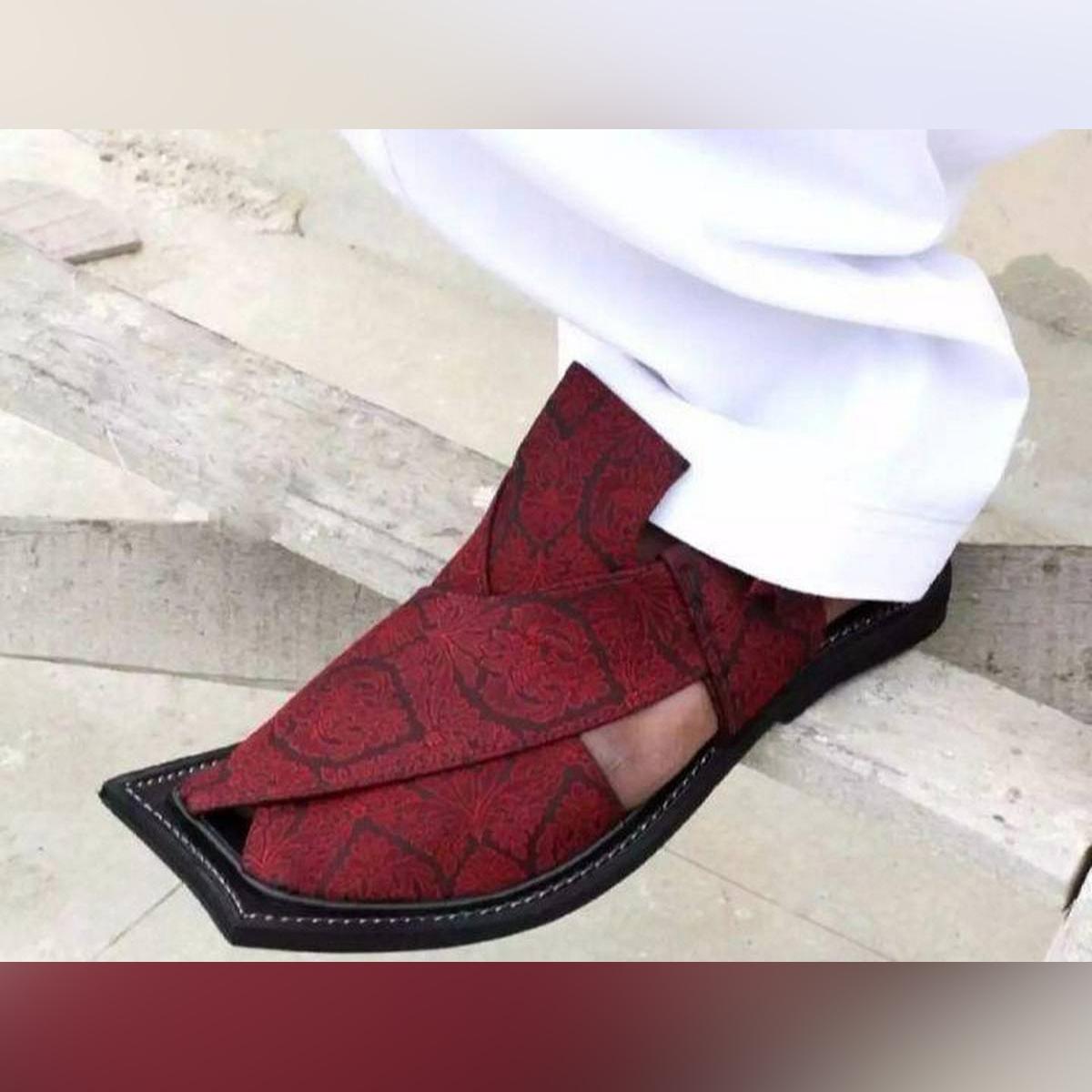 Multicolor Jamawar Peshawari Sandal For Men