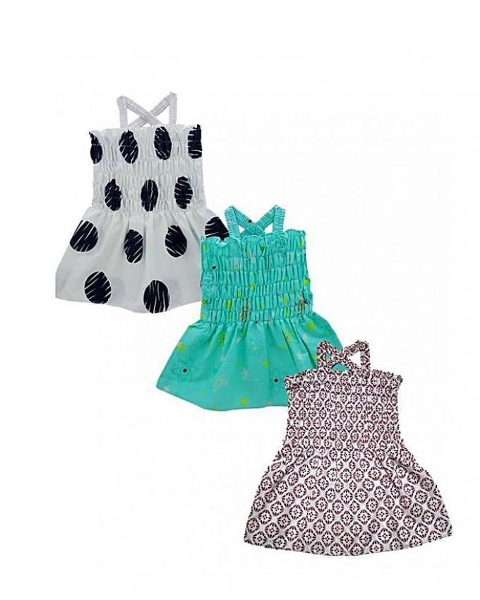 Pack Of 3 - Summer Multicolor Cotton Frocks For Girls