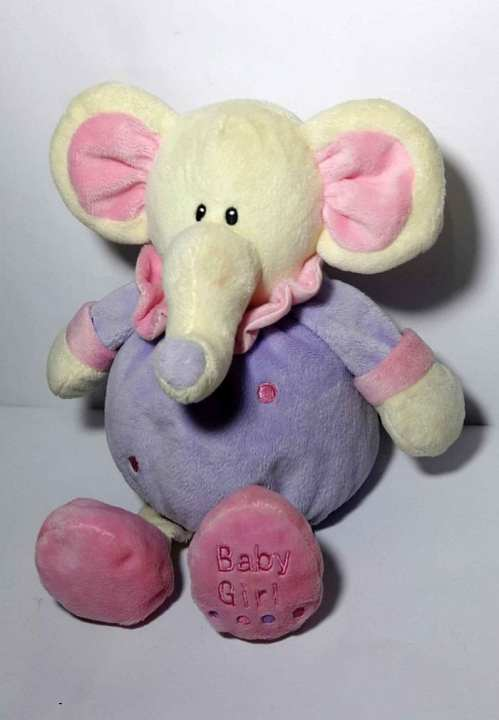 Stuffed Elephant with rattle inside, toy for little kids, 10 inches tall