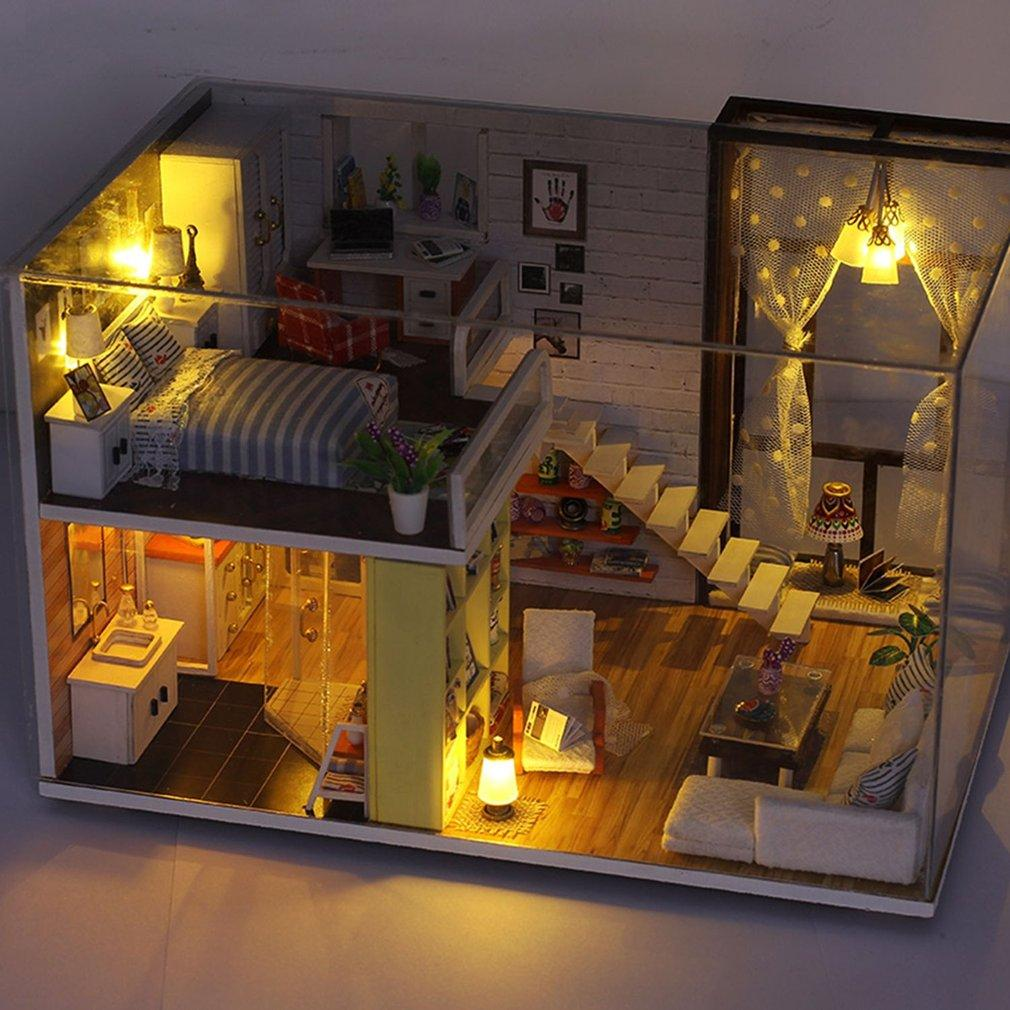 Simple City Room Doll House Miniature DIY 3D Dollhouse Toys With Furnitures multi-color mixed