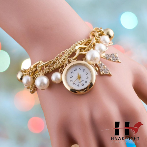 New Fashion Gold Chain Golden Pearls Bracelet Watch For Women and Girls
