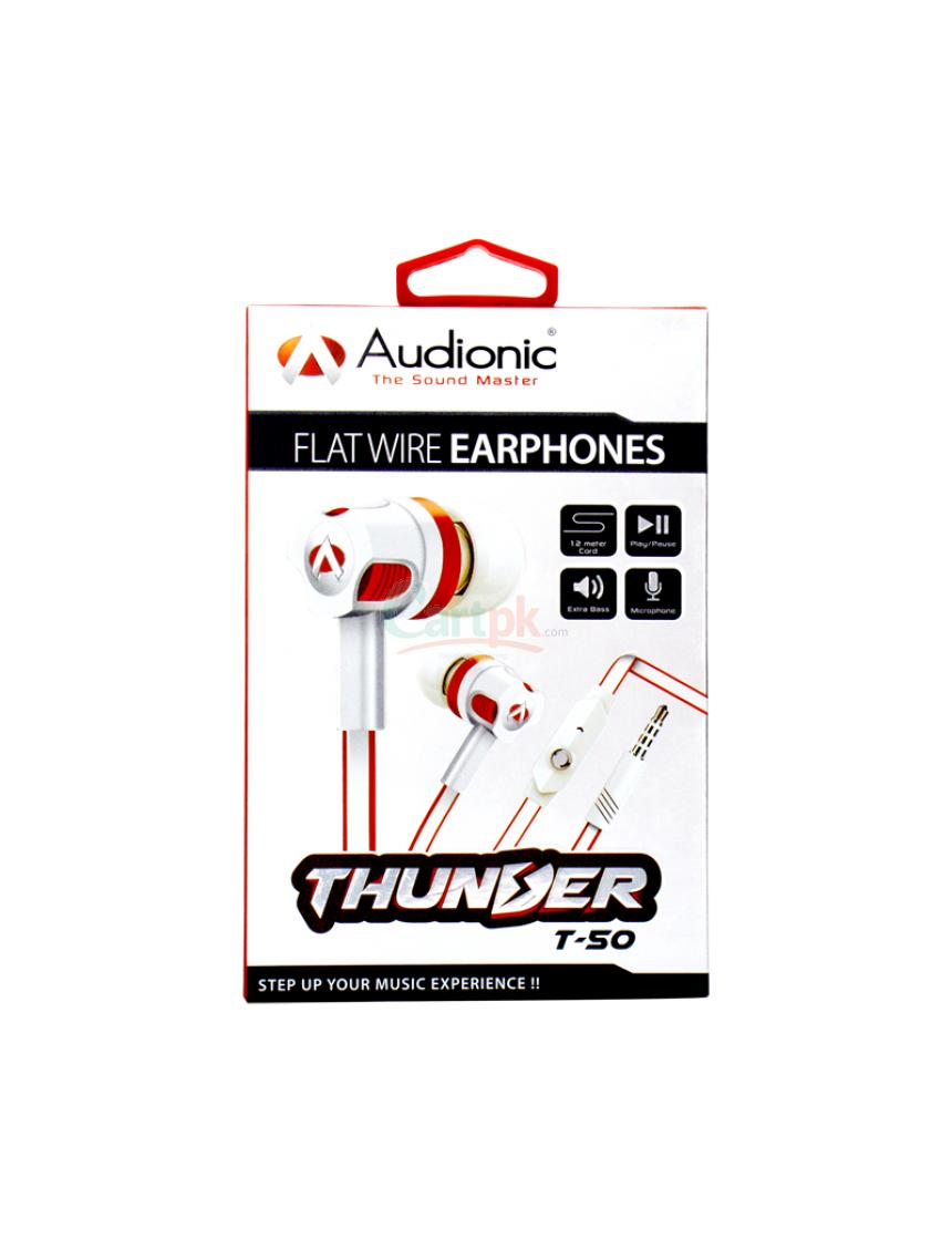 High Bass Genuine T50 Earphones with noise cancellation supported mic, Flat Durable wire