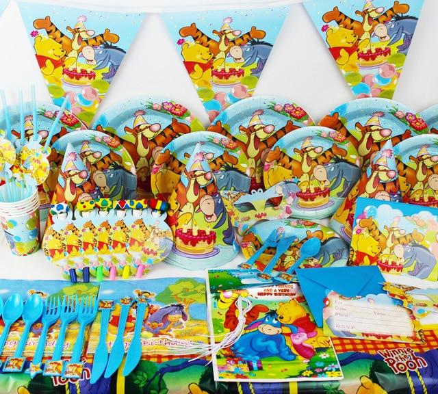 Winnie The Pooh Theme Birthday Kids Party Supplies 1 Banner 10 Paper Plates