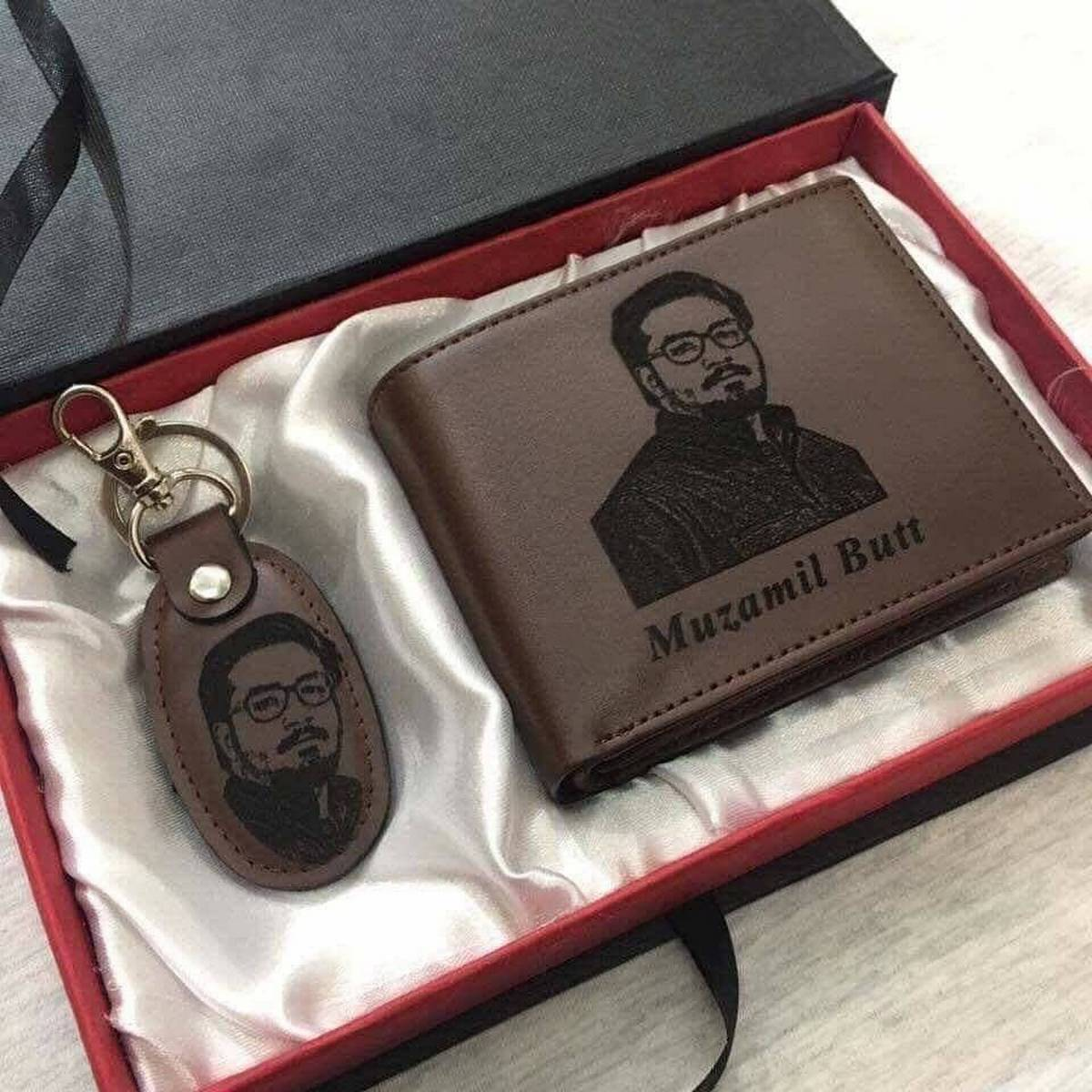 CUSTOMIZE NAME AND PICTURE ENGRAVED WALLET AND KEYCHAIN WITH BOX PACKING