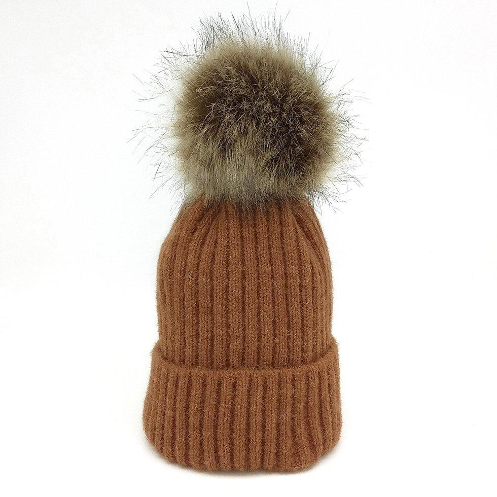 771be35b5de Autumn Winter Knitted Imitation Raccoon Hair Ball Earflap Warm Bebe Bonnet