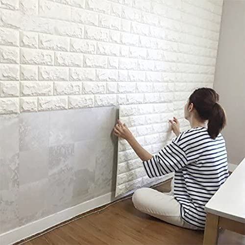 3D Brick Wall Stickers PE Foam High Self-Adhesive Wallpaper Peel and Stick 3D Art Wall Brick Room Panels for TV Walls, Sofa Background Wall Decor (White) - Size 70 X 77 CM