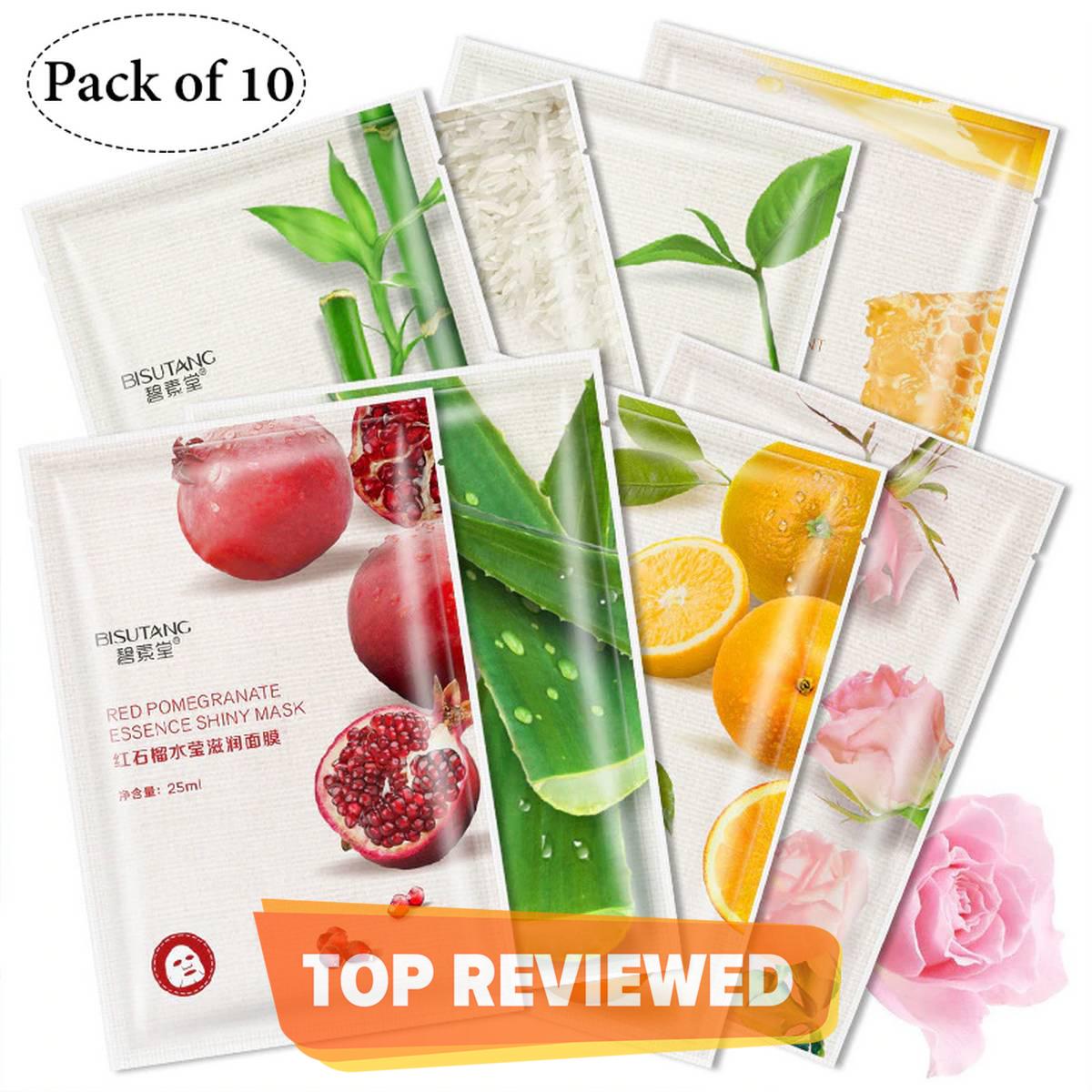 Bisutang Pack of 10 Sheet Mask Fruit Moisturizing Facial Mask