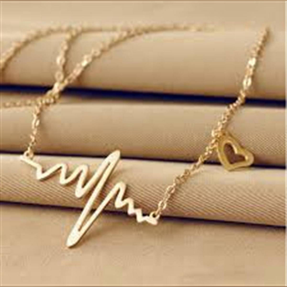 Fashion Jewelry For Women ECG Heart Necklace Clavicle Choker Pendant Necklaces Heartbeat