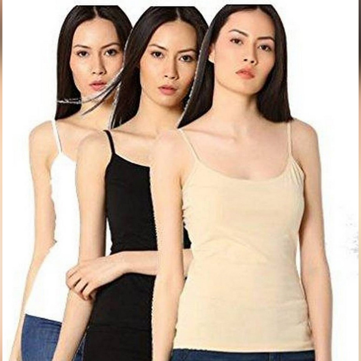 Pack of 3 Camisole For Women Girls  Biddies Strechable pure cotton Tank Tops for Women Girls