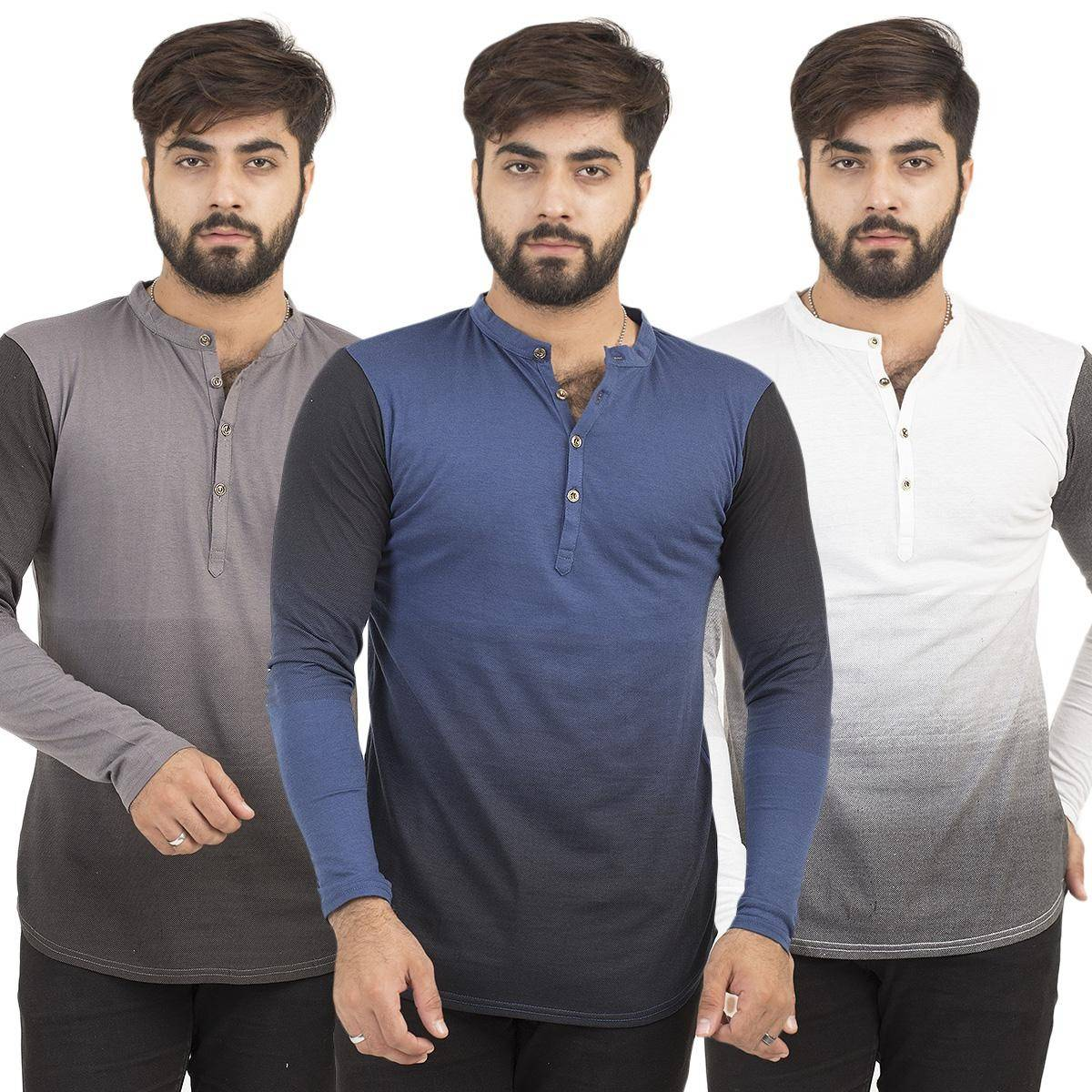Paradise Zone Full Sleeves Kurti Style Mulitcolor Pack of 3 Tshirt for Men