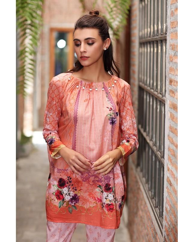 So Kamal Women Summer Collection Beige 2 PCS Unstitched -Printed Lawn Shirt DPL 19 391 LA01066-Std-BEG