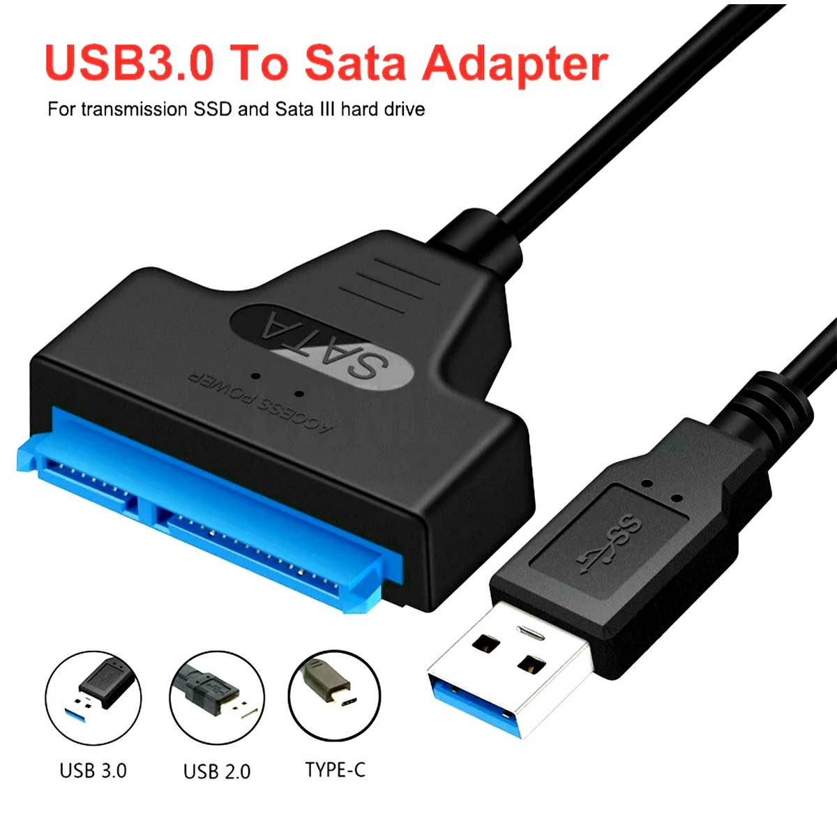 """USB 3.0 to SATA 2.5"""" inch SSD / HDD Cable Converter / Hard Disk Adapter / Driver Free / Direct Plug and Play / Upto 5 Gbps Fast Data Transfer Speed / Mobile OTG / Laptop / PC"""