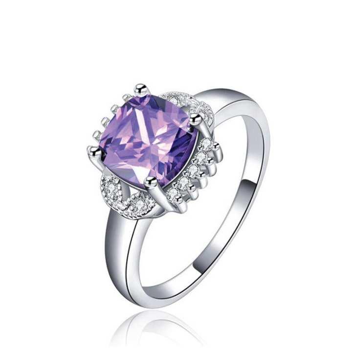 CZ Stone purple Luxury Silver color AAA zirconia Wedding rings for women Size 17