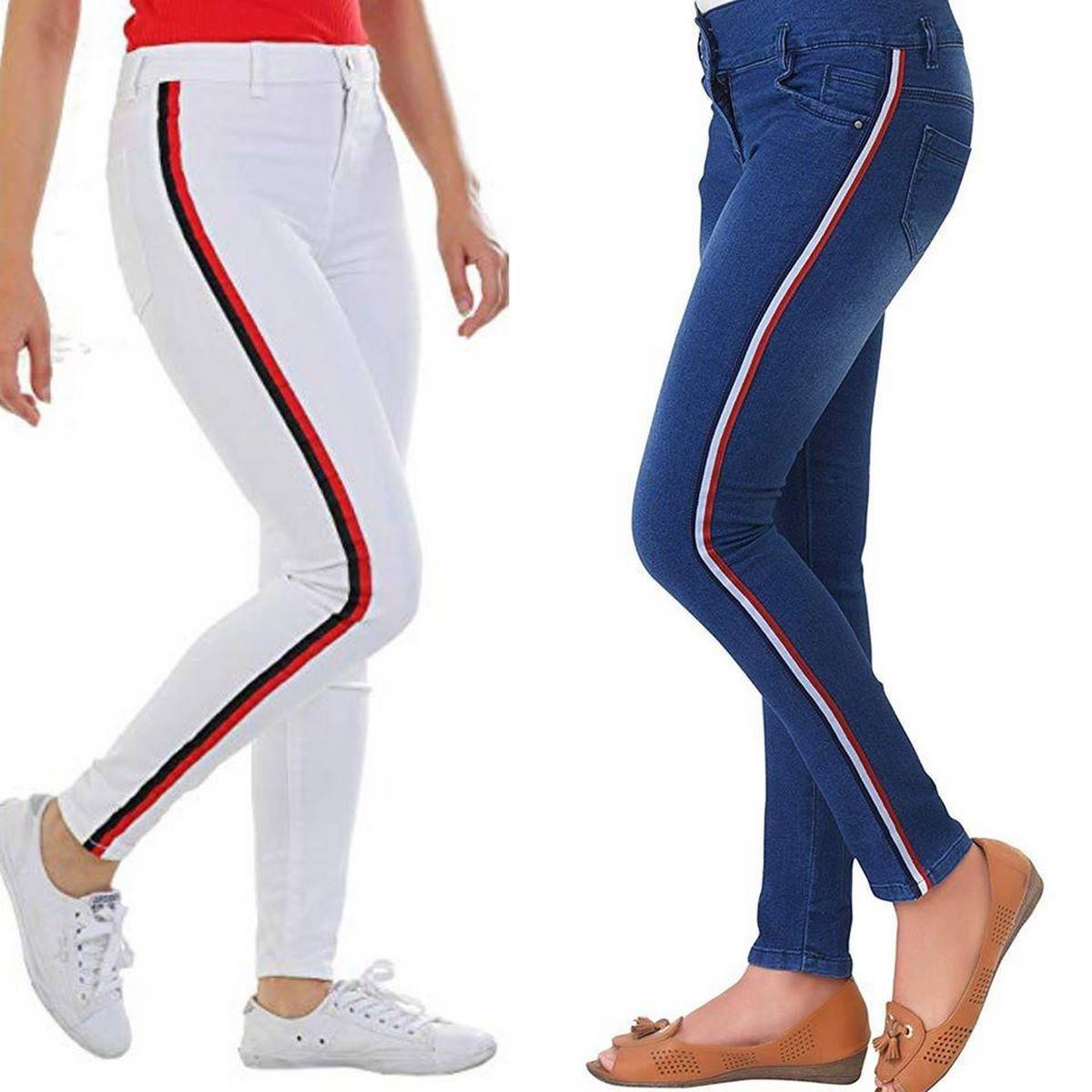 Pack of 2 Slim Fit Strip Denim Stretchable Jeans Pant For Women, Jeans For Girls