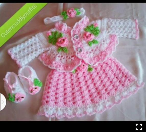 Handmade Crochet Dress Set For Girls